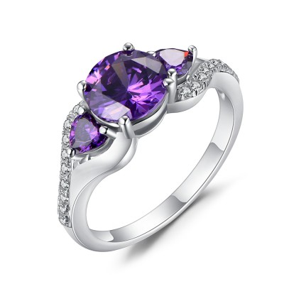 Tinnivi Sterling Silver 3 Stone Round Cut Created Amethyst Engagement Ring