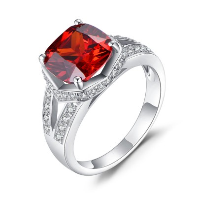 Cushion Cut Ruby 925 Sterling Silver Birthstone Rings