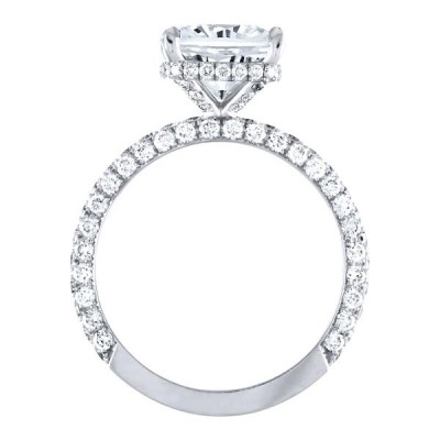 Cushion Cut White Sapphire Sterling Silver Engagement Ring