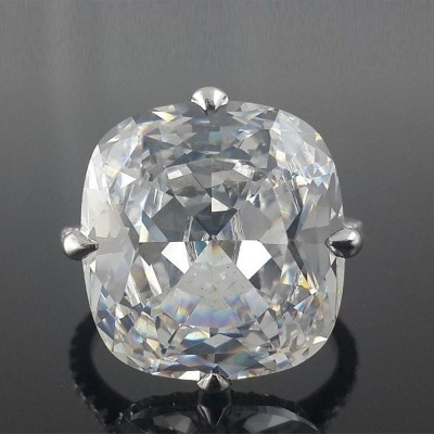 Cushion Cut White Sapphire 925 Sterling Silver Kardashian Style Engagement Ring