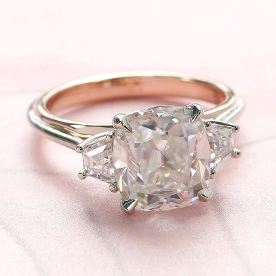 Cushion Cut White Sapphire 925 Sterling Silver Three Stone Engagement Ring