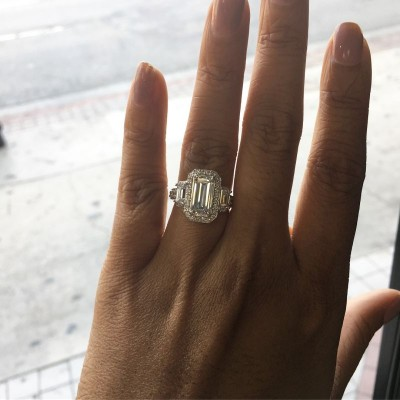 Emerald Cut White Sapphire Sterling Silver Engagement Ring