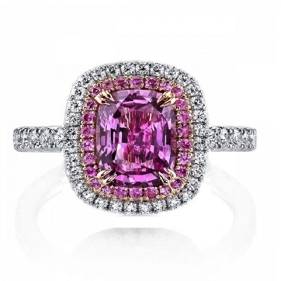Cushion Cut Pink Sapphire 925 Sterling Silver Halo Engagement Ring