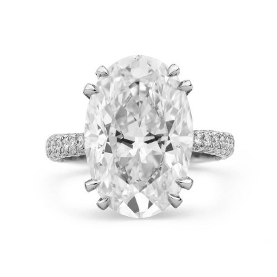 Oval Cut White Sapphire 925 Sterling Silver Engagement Ring