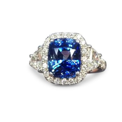 Cushion Cut Blue Sapphire 925 Sterling Silver Halo Engagement Ring