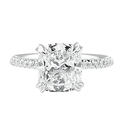 Brilliant Radiant Cut White Sapphire 925 Sterling Silver Engagement Ring