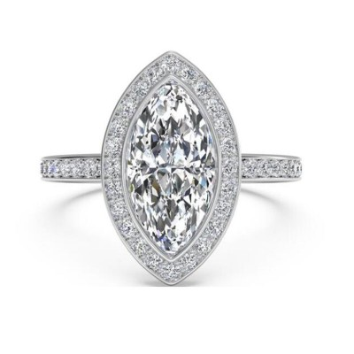 Marquise Cut White Sapphire 925 Sterling Silver Halo Engagement Ring