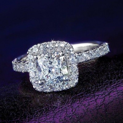 Cushion Cut White Sapphire 925 Sterling Silver Halo Engagement Ring