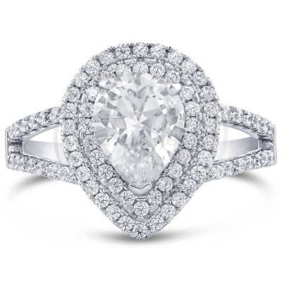 Pear Cut White Sapphire 925 Sterling Silver Halo Engagement Ring