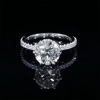 Stunning Round Cut White Sapphire 925 Sterling Silver Engagement Ring