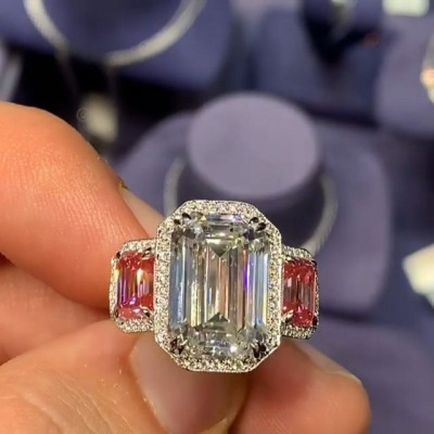 Stunning Emerald Cut White Sapphire 925 Sterling Silver Engagement Ring