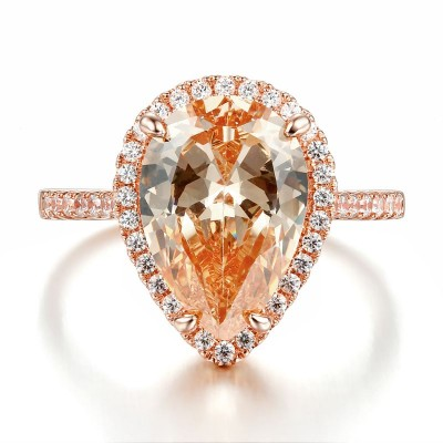 Glamorous Pear Cut Orange Sapphire 925 Sterling Silver Engagement Ring