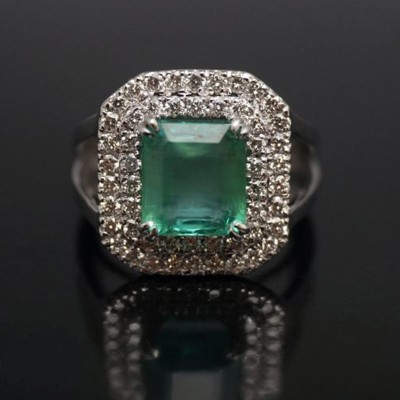 Emerald Cut Emerald 925 Sterling Silver Engagement Ring