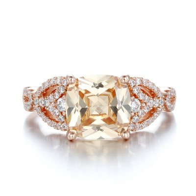 Cushion Cut Orange Sapphire 925 Sterling Silver Engagement Ring