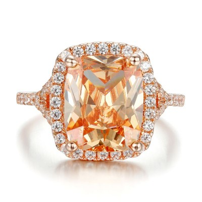 Cushion Cut Orange Sapphire 925 Sterling Silver Halo Engagement Ring with Rose Gold