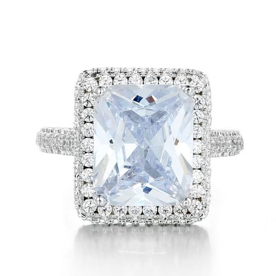 Radiant Cut White Sapphire 925 Sterling Silver Prong Engagement Ring