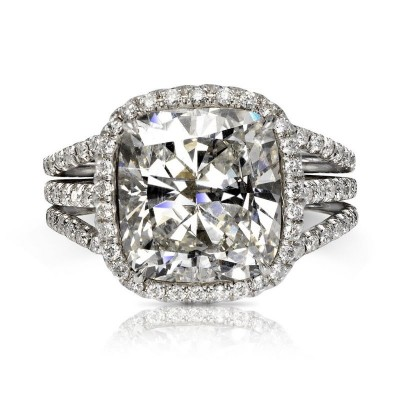 Cushion Cut White Sapphire 925 Sterling Silver Halo Style Engagement Ring