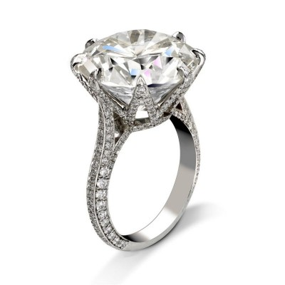 Round Out White Sapphire 925 Sterling Silver Engagement Ring