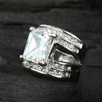 Tinnivi Sterling Silver Created White Sapphire Accent Split Shank Engagement Ring