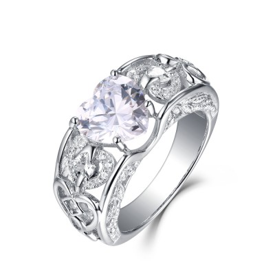 Tinnivi Sterling Silver Heart Cut Created White Sapphire Angel Wing Engagement Ring