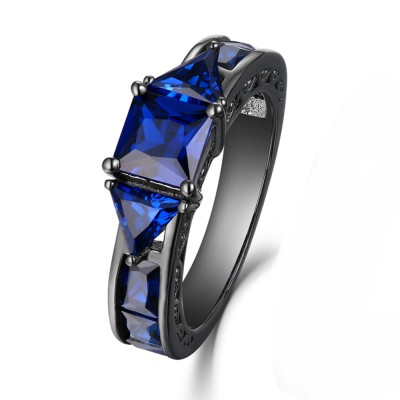 Princess Cut 925 Sterling Silver Created Blue Sapphire Engagement Ring