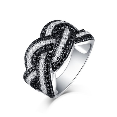 Tinnivi Sterling Sliver Black Diamond and Created White Sapphire Women's Fashion Ring