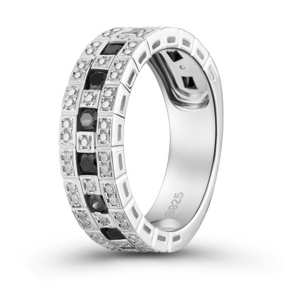 Round Cut Black Sapphire 925 Sterling Silver Women's Engagement Ring