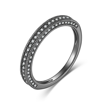 Round Cut Gemstone Black 925 Sterling Silver Women's Wedding Bands