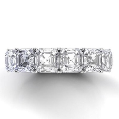 Asscher Cut White Sapphire 925 Sterling Silver Wedding Band