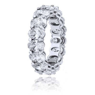 Tinnivi Oval Cut White Sapphire 925 Sterling Silver Wedding Band