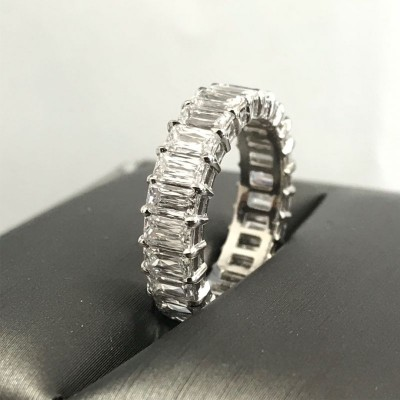 Sparkling Baguette Cut White Sapphire 925 Sterling Silver Wedding Band