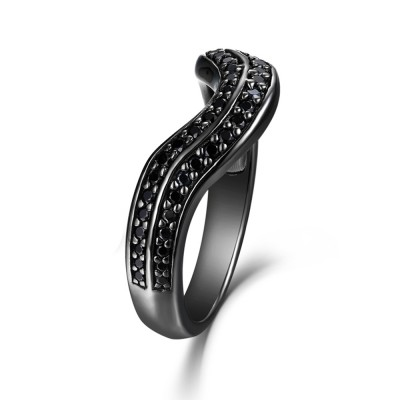 Unique Round Cut 925 Sterling Silver Created Black Diamond Wedding Band