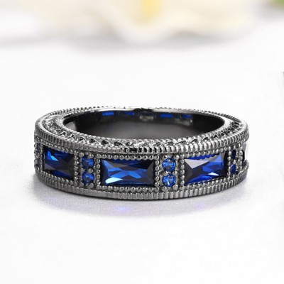 Princess Cut 925 Sterling Silver Created Blue Sapphire Wedding Band