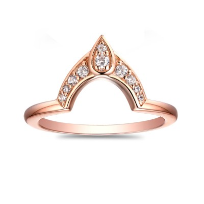 Round Cut 925 Sterling Silver Created White Sapphire Rose Gold Wedding Band