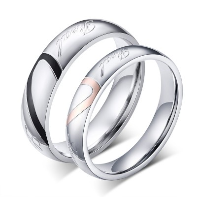 Titanium Steel Heart Design Promise Ring for Couples