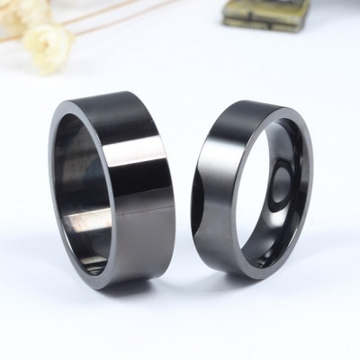Black Titanium Steel Promise Ring for Couples
