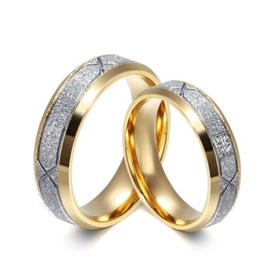 Stylish Gold and Silver Gemstone Titanium Steel Promise Ring for Couples