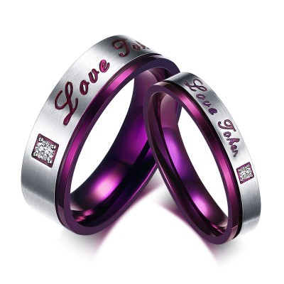 Grape and Silver Gemstone Titanium Steel Promise Ring for Couples