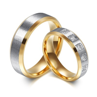 Gold and Silver Princess Cut Gemstone Titanium Steel Promise Ring for Couples