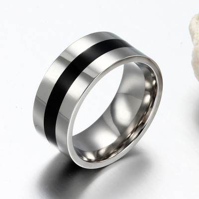 Simple Black and Silver Titanium Steel Men's Ring