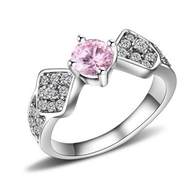 Round Cut Pink Sapphire Silver Titanium Steel Women's Engagement Ring