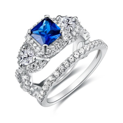 Princess Cut 925 Sterling Silver Blue Sapphire Women's Engagement Ring