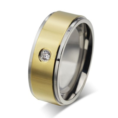 Round Cut White Sapphire Gold and Silver Titanium Steel Men's Ring
