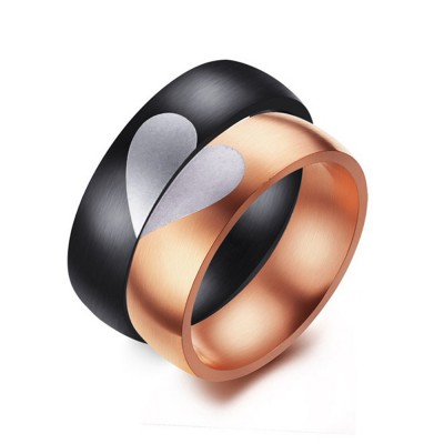 Special Design Black & Gold Titanium Steel Couples Ring