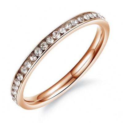 Tinnivi Rose Gold Pave Created White Sapphire Titanium Steel Band