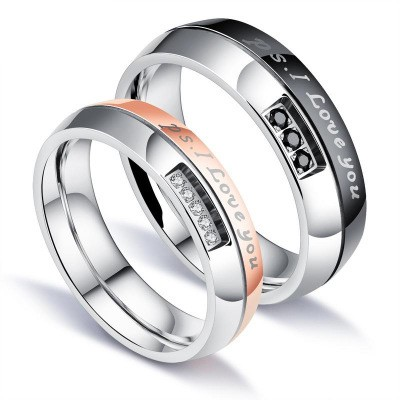 Tinnivi Black Rose Gold I Love You Titanium Steel Band For Couples