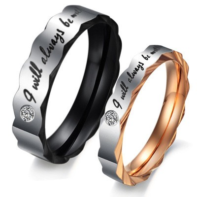 Tinnivi Stylish Wave Black Rose Gold Titanium Steel Band For Couples