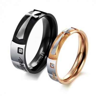 Tinnivi Black Gold Cross Titanium Steel Band For Couples