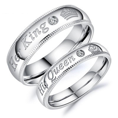 Tinnivi Silver Color Her King His Queen Titanium Steel Band For Couples