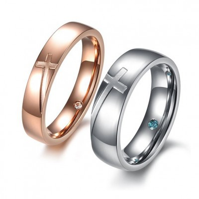 Tinnivi Silver Rose Gold Cross Titanium Steel Band For Couples
